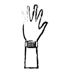 Hand man smart watch wearable technology sketch vector