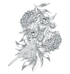 Ink hand drawn of ornate peonies vector