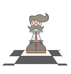 Isolated cartoon the busy executive chess pawn vector image vector image