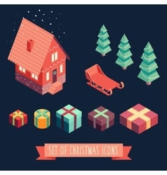 Isometric christmas Merry Christmas new year vector image vector image