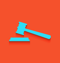 Justice hammer sign whitish icon on brick vector