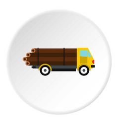 Logging truck with logs icon circle vector