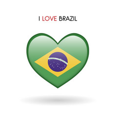 love brazil symbol flag heart glossy icon vector image