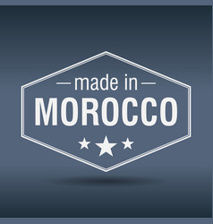 Made in morocco hexagonal white vintage label vector