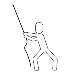 man pictogram pulling rope icon vector image vector image
