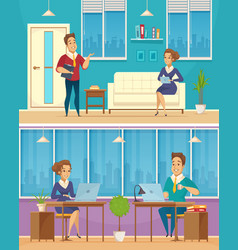 office worker characters cartoon banners vector image vector image