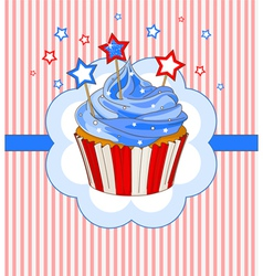 Patriotic cupcake place card vector image vector image