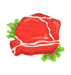 Piece of raw beef food item rich in proteins vector