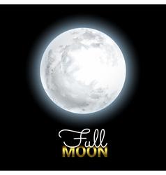 Realistic Volume 3d Full Moon on Black Dark vector image