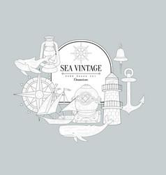 Sea themed vintage sketch vector