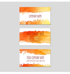 Set of business cards with watercolor background vector