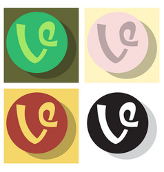 set of flat vine icon in thinking cloud vector image