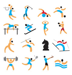 set of simple sport icons vector image vector image