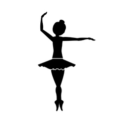 silhouette with dancer pirouette fourth position vector image vector image