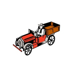Vintage pick up truck driver woodcut vector