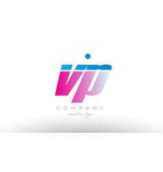 Vp v p alphabet letter combination pink blue bold vector
