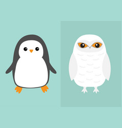 White snowy owl penguin bird icon set sitting vector
