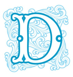 Winter vintage letter d vector