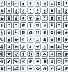 100 drinks icons set vector image vector image
