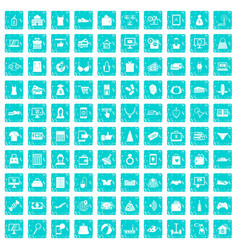100 online shopping icons set grunge blue vector image vector image