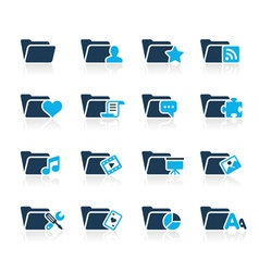 Folders icons 2 azure series vector