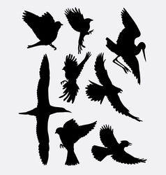 Bird flying animal silhouette 2 vector