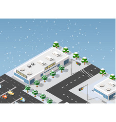 Isometric supermarket city vector