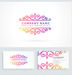 floral ornament logo design with business card vector image