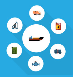 Flat icon oil set of boat rig container and vector