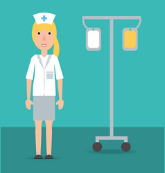 Woman nurse with medical transfusion tool vector