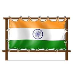 A wooden frame with the flag of india vector