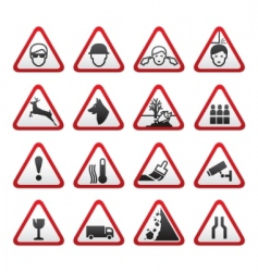 triangular warning hazard signs set vector image