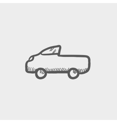 Pick up truck sketch icon vector