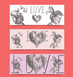 Love concept banners vector