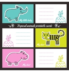 Tropic animals printable cards vector