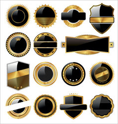 Set of empty black and gold labels vector
