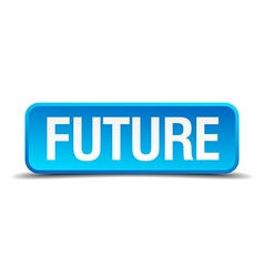 Future blue 3d realistic square isolated button vector