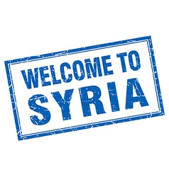 Syria blue square grunge welcome isolated stamp vector
