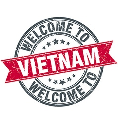 Welcome to vietnam red round vintage stamp vector