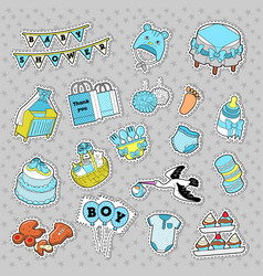 baby shower boy stickers badges patches vector image vector image