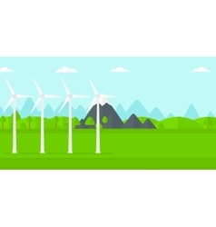 Background of wind turbines in mountains vector