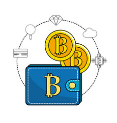 Bitcoin symbon in the wallet and icons around vector