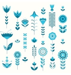 blue flower set pattern vector image
