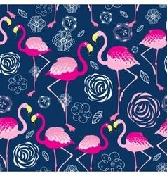 Bright pattern flamingos vector
