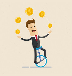 Businessman juggling coin while cycling vector