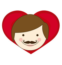 Face man hairstyle with heart icon vector