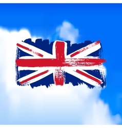 Flag of Great Britain against the sky vector image