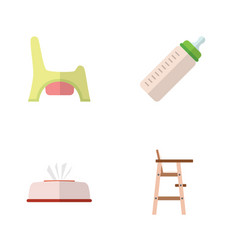 flat infant set of feeder child chair toilet and vector image vector image