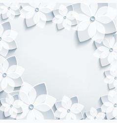 Floral frame with grey 3d flowers sakura vector