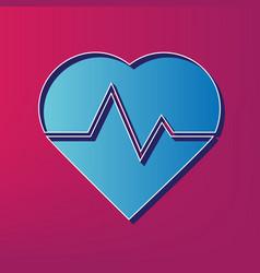 Heartbeat sign blue 3d vector